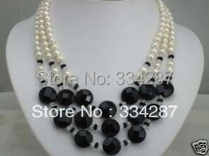 Noble! 3 rows 7-8mm white pearl and black onyx necklace(China (Mainland))