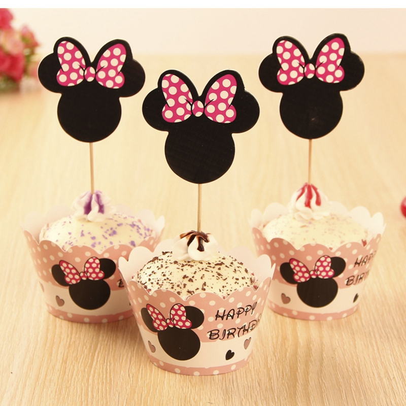 Mickey Minnie Cupcake Liners for Girls Birthday Party Decorations Kids Halloween Christmas Ornament Accessories Kitchen Products(China (Mainland))