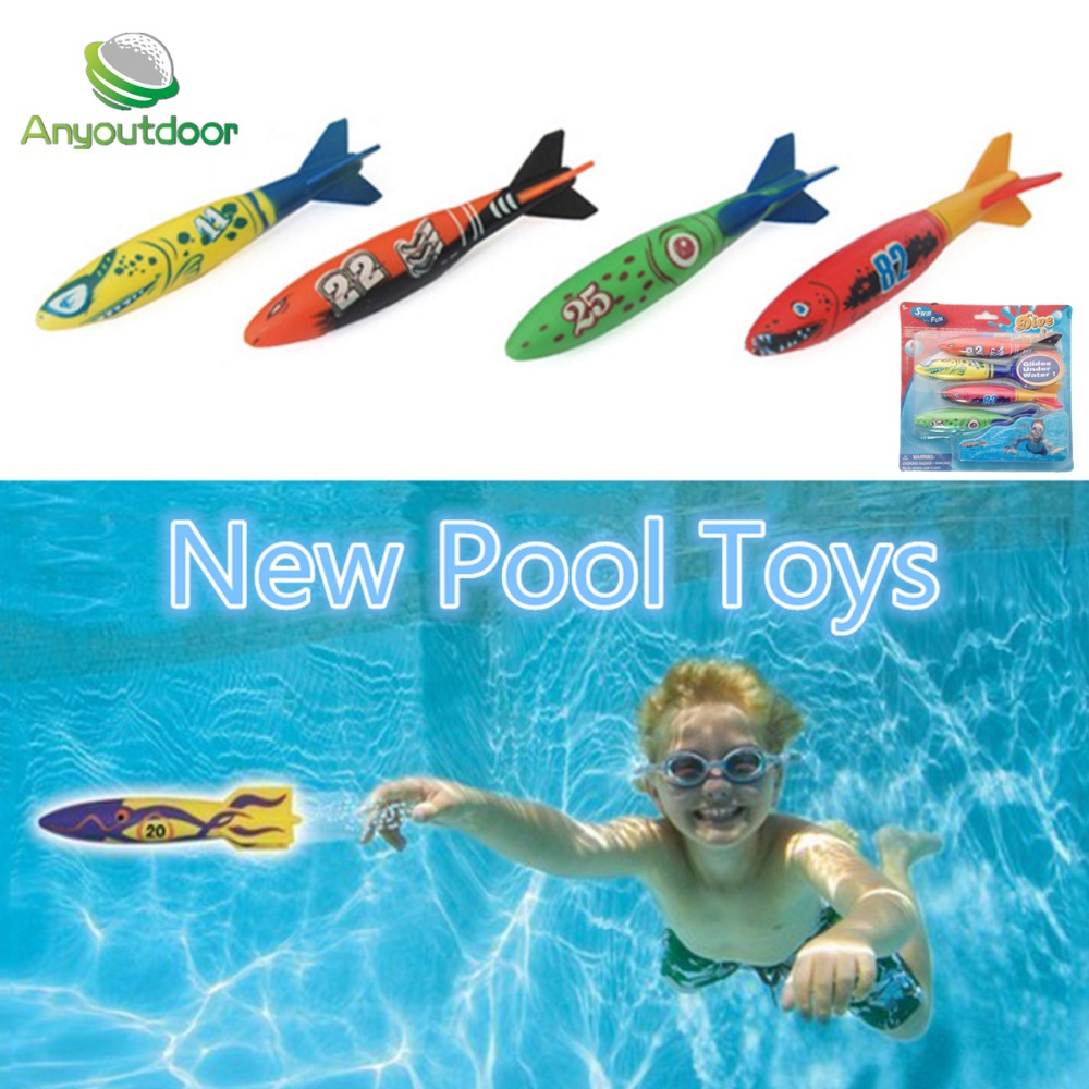 Diving torpedo throwing toys Games Sport outdoor Play Pools Water Fun Summer Children 1 set (include 4)(China (Mainland))