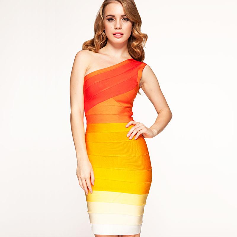 Womens Summer Dresses 2016 One Shoulder Orange Gradually Shift Color Gradient Bandage Dresses Sexy Party Night Club Dress(China (Mainland))