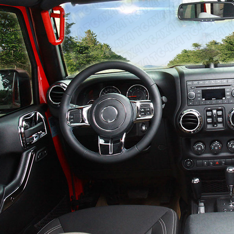 ABS Inner Chrome Covers for Jeep Wrangler JK Chromed Trims Decorations Door Handle Gear Shift Speaker Light Cover