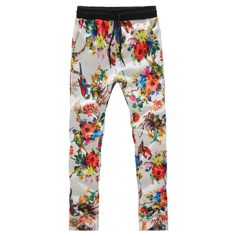 Men Long Pants 2014 Flower Printed Mens Fashion Floral Man Big Sale Autumn Brand Mens Slim Trousers 44Одежда и ак�е��уары<br><br><br>Aliexpress