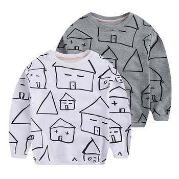 ins** bobo* choses** hot sale 2016 unisex baby kids house printed cotton T shirt children fashion spring top sweatshirt cloth
