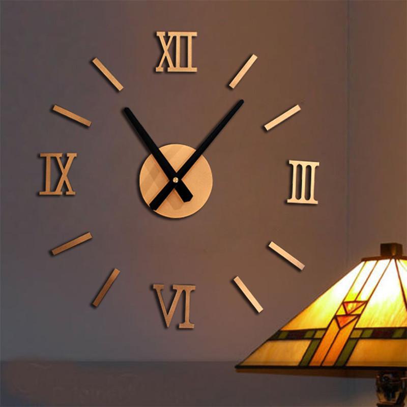 3d wall clock modern diy large wall clock metal big watch for Giant modern wall clock