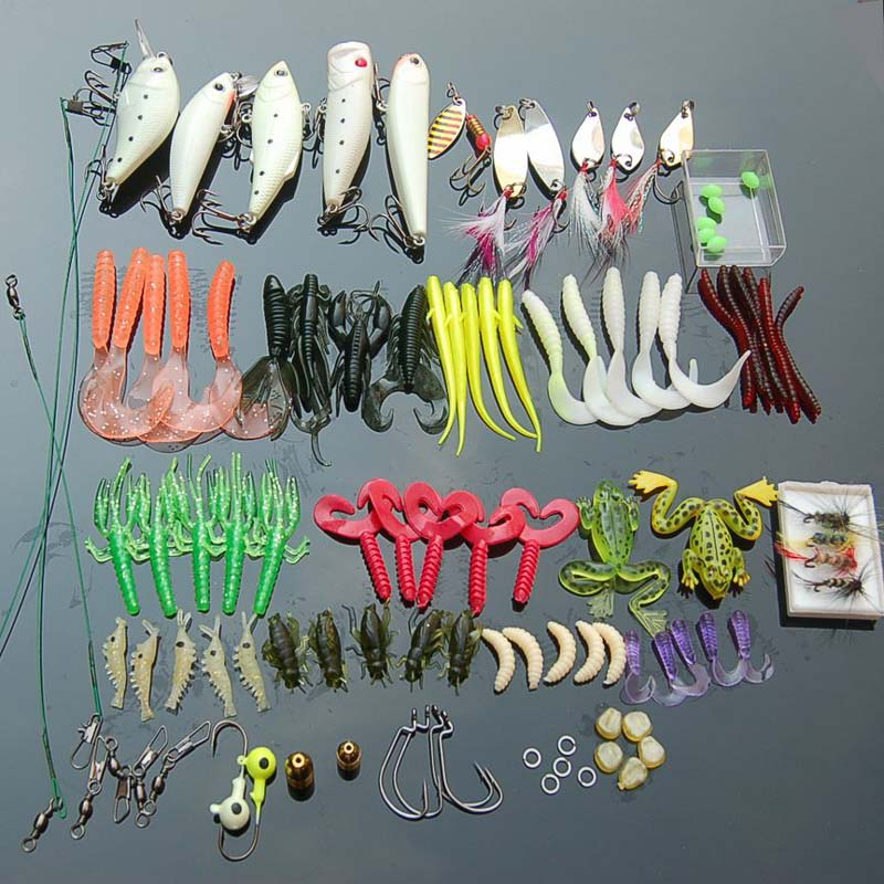 100 Pcs box font b Fishing b font Accessories Tackle Soft Worm Lures Metal Spinner Spoon
