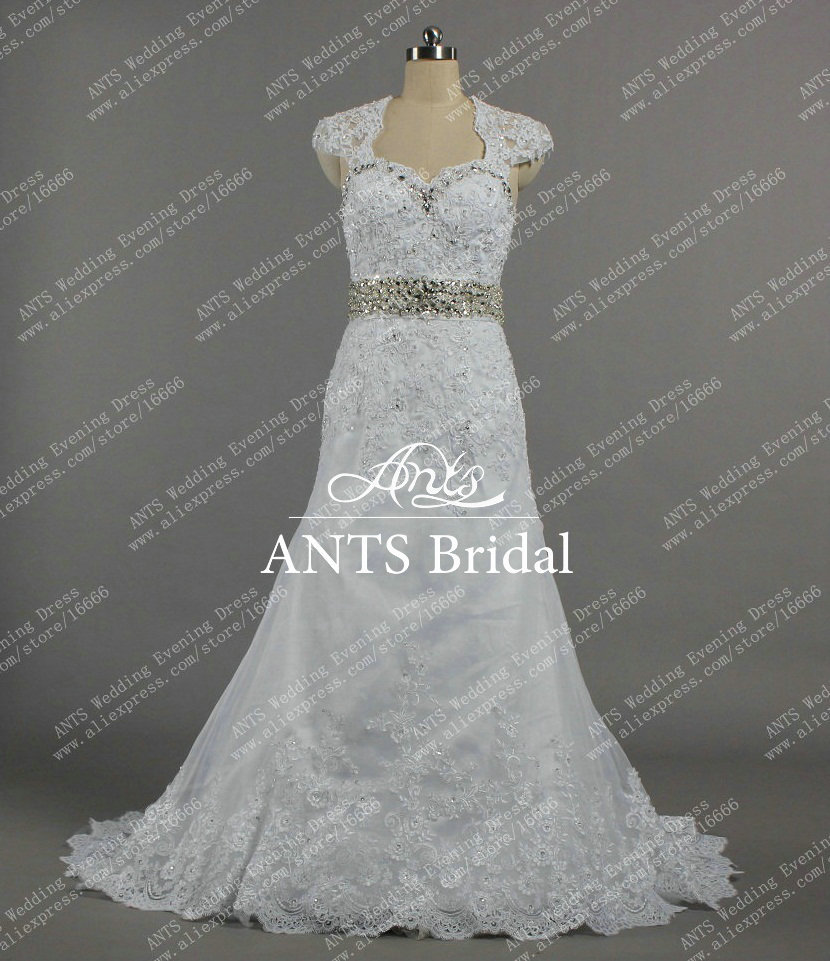 Charming style beaded belt detachable cap sleeve a line for Lace cap sleeve keyhole back wedding dress