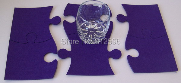 Free Shipping 2014 New Fashion Laser Crafts Purple Felt Puzzle Glass Cup Drink Coaster Home Bar Decor Kitchen Accessories(China (Mainland))