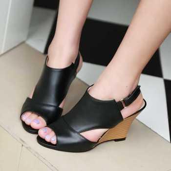 Женщины гладиатор сандалии 2015-2016 сексуальные туфли на каблуках клинья весна лето обувь сладкие открытым носком менее босоножки на платформе