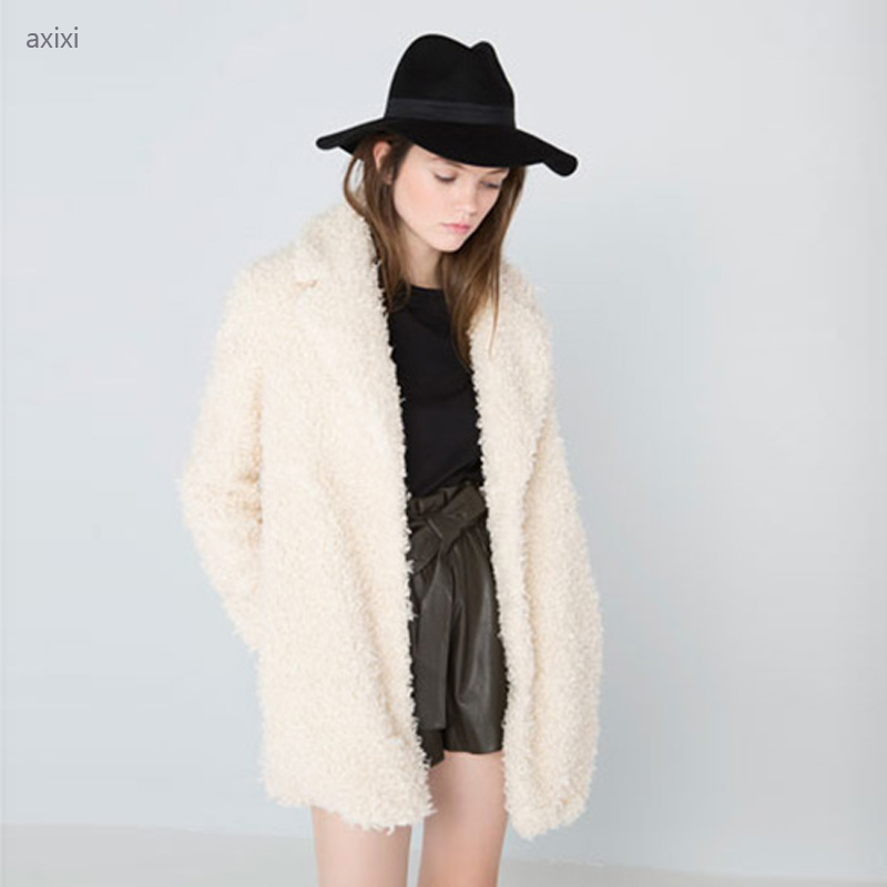 Women Fur Coat Winter Fluffy Shaggy Coat Curly Faux Fur 2015 New Europe and America Long Sleeve Suit Collar Casacos FemininosОдежда и ак�е��уары<br><br><br>Aliexpress