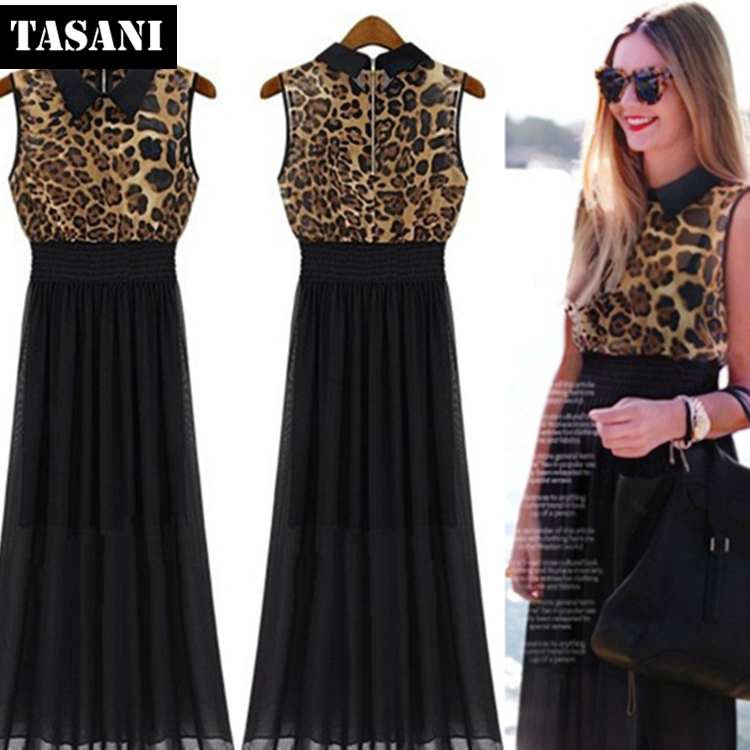 2015 New Fashion Summer Cotton Slim Leopard Women Sheath Dress American Style Turn-down Collar I3058 - TASANI store