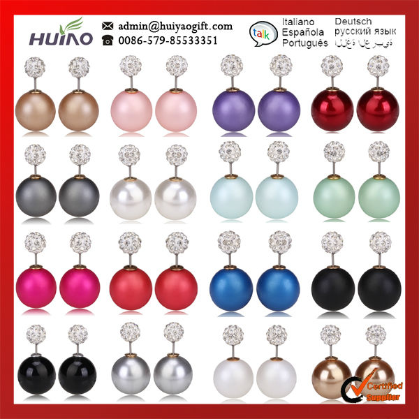 Bijoux Cc Roxi High Quality/double Faced Stud Earring/elegant Temperament/crystal Earrings/free Shipping/16 Colors Can Choose(China (Mainland))