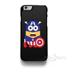 For iphone 4/4s 5/5s 5c SE 6/6s 7 plus ipod touch 4/5/6 back skins mobile cellphone cases cover CAPTAIN AMERICA MINIONS