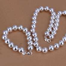 Free Shipping Hot New Fashion silver plated jewelry sets 14M beads bracelet necklace  jewellery(China (Mainland))