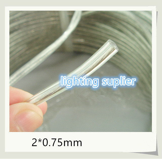 100 Meters flat wire 2x0.75mm Transparent Lamp Switch Wire Copper Conductor Electrical Cable(China (Mainland))