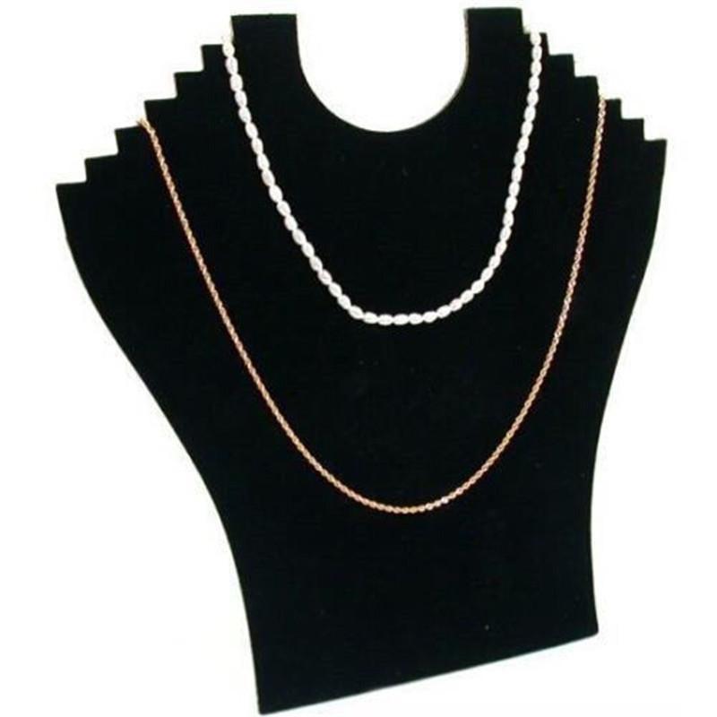 100% Brand new 6 hooks Velvet Necklace Bust Pendant Chain Hard Display Holder Stand Neck Velvet Easel(China (Mainland))