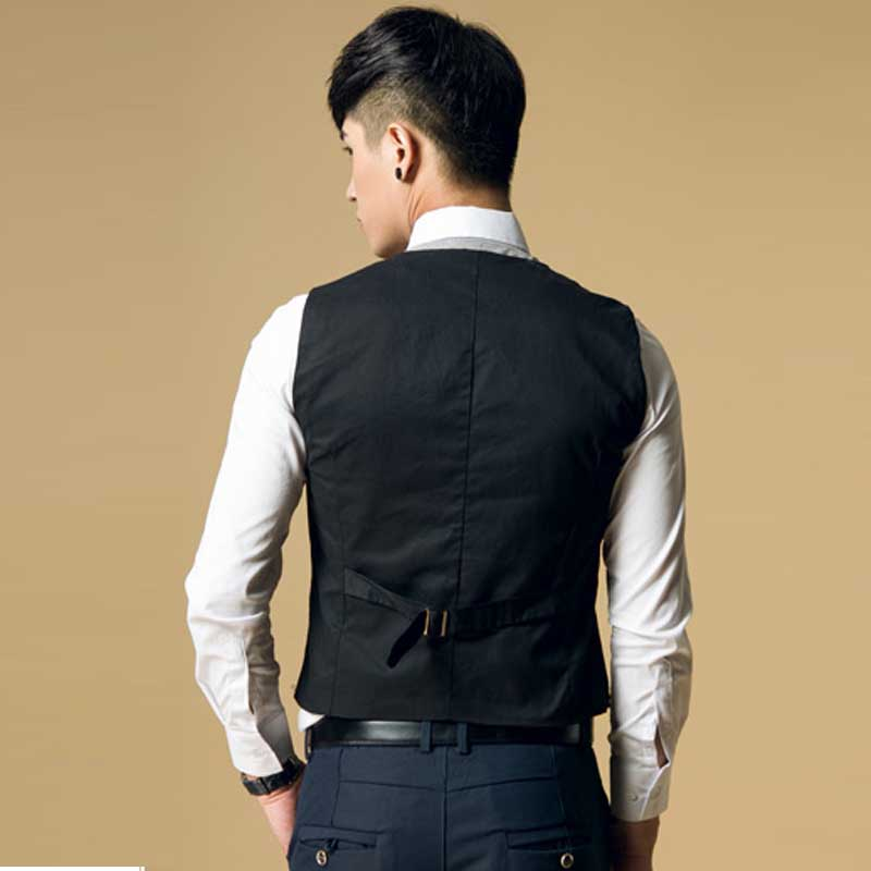 Free Shipping Fashion Men's Suit Vest Casual Top Slim & Fit Luxury business Dress Vest for men 3 buttons Black/brown wholesale