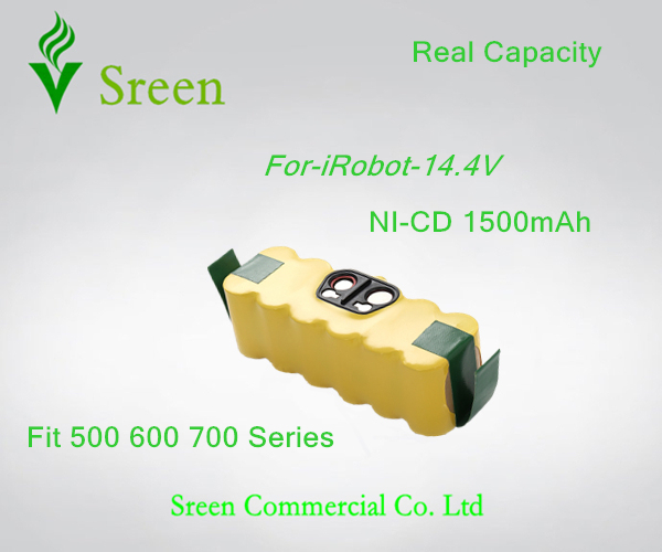 New 14.4V Ni-CD 1500mAh Rechargeable Battery Packs Replacement for iRobot Roomba 500 610 700 Series 80501 530 510 780 770 760(China (Mainland))