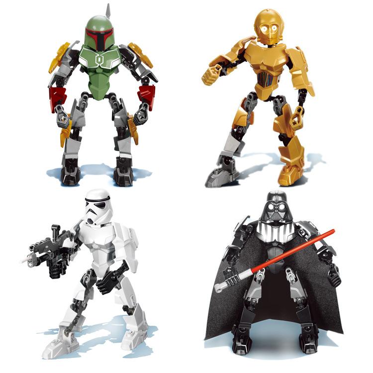 4pcs star wars super heroes XSZ 509-512 20 cm high Minifigure Darth Vader/Clone Trooper /Jango Fett/c-3po Building Block Toys <br><br>Aliexpress
