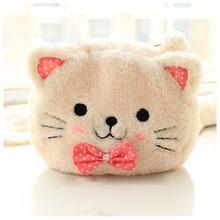 Cute Cartoon Cat Shape Soft Plush Cosmetic Makeup Bag Pouch with Pen Pencil Case Black Pink