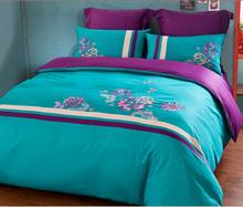 2015 new high-grade cotton embroidered  quilt + sheet + 2pcs pillowcase bedding duvet cover set(China (Mainland))