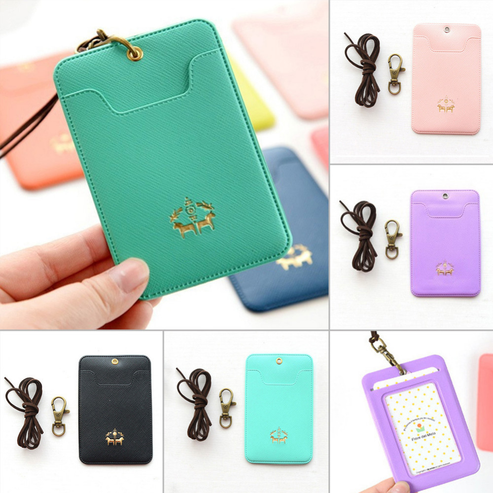 PU Leather Lanyard Women Card Case Holder Portable String Fashion ID Bus Identity Badge with Lanyard Porte Carte Credit(China (Mainland))