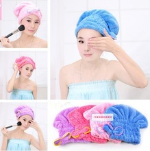 1323 CORAL VELVET magic dry hair cap shower cap super absorbent microfiber towel dry hair Big sale(China (Mainland))