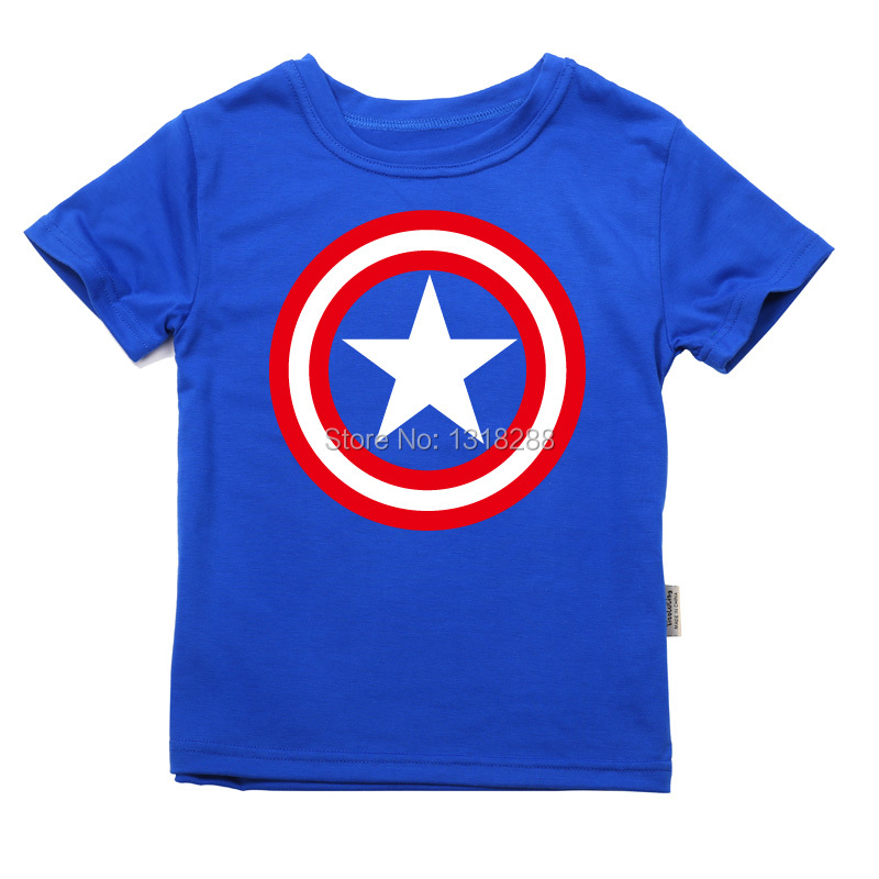 2016 Cotton Boys T-shirts Captain America Short Children t shirt 1~11 Y Boy Cartoon Tops Tees Summer Kids Clothes - Baby and Store store