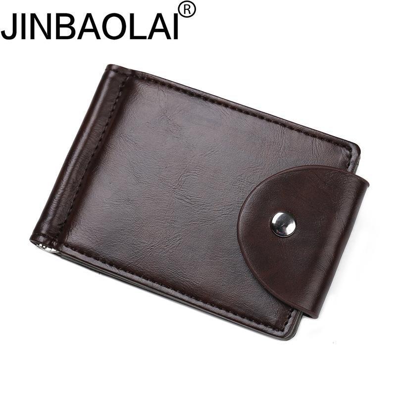 Original Brand JINBAOLAI Vintage Stainless Steel Money Clip High Quality PU Hasp Mens Clip Wallet(China (Mainland))