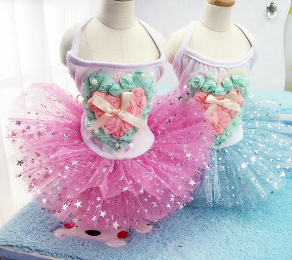 1pcs dogs cats fashion love lace tutu printess dress doggy summer style rose flower party dresses puppy costume 1pcs XS-XXL(China (Mainland))