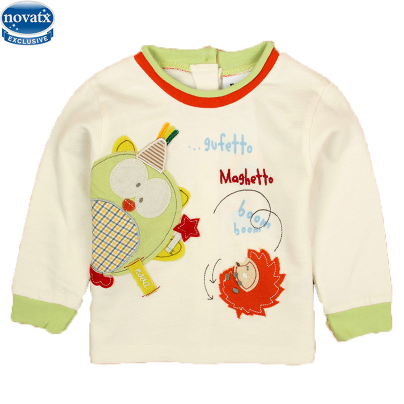 novatx A256 2017 baby boys T shirts boys clothing baby boys clothes boys long sleeve t shirt printed eith lovely picture hot(China (Mainland))