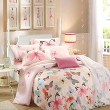 Luxury soft Tencel Satin Silk Butterfly summer bedding sets bedclothes Queen/ King Size for wedding decoration DHL Free Shipping(China (Mainland))
