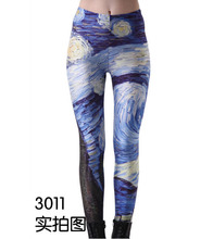 Fashion casual wave models of digital printing Leggings 3D Galaxy Paisley Mid-waist Ladies Pants(China (Mainland))