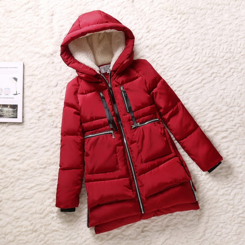 New 2015 winter women Wadded jacket red female outerwear plus size 3XL lady thickening casual down wadded coat women parkas(China (Mainland))
