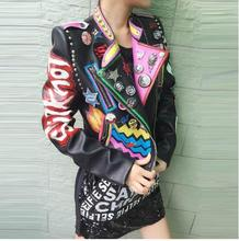 2016 Leather coat Women Rock Punk Rivet Studded Motorcycle Leather Spiked Leather Jacket Appliques Patch designs Embroidery S-L(China (Mainland))