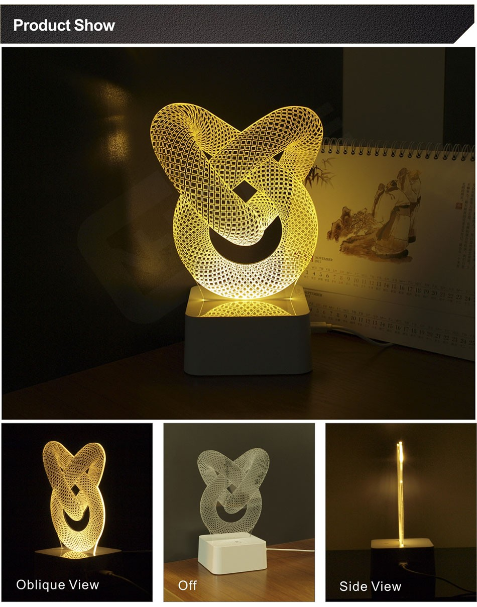 Limited Novelty Warm Chinese Knot Lamp Table Bed Room Abajur Touch Switch Night Light 3d LED Desk Light (3)
