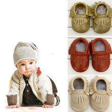 Free Shipping Feitong  Baby Tassel Soft Sole Cow Leather Shoes Infant Boy Girl Toddler Moccasin(China (Mainland))