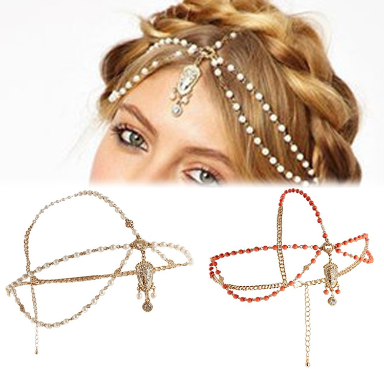 Wedding Metal Head Waves Chain Jewelry Shiny Boho Women Pearl Gold Wedding Headdress Headband Crown Chain Headpiece HDR-0186(China (Mainland))