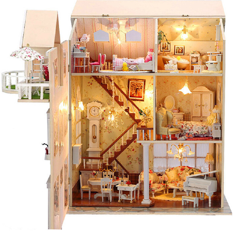 Doll House Cake Images : doll house with Wooden Handmade Dollhouse Miniature DIY ...