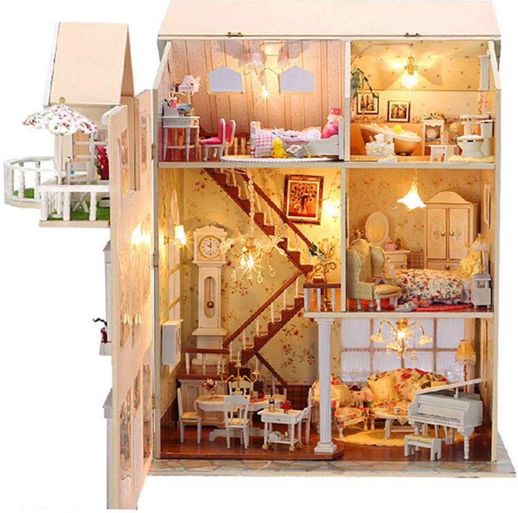 doll house with Wooden Handmade Dollhouse Miniature DIY ...