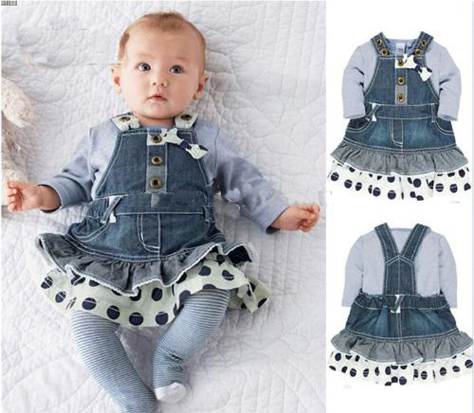2015 girl clothing set fashion Bowknot girl clothes long sleeved T-shirt + denim strap dress two-piece conjunto roupas infantis(China (Mainland))