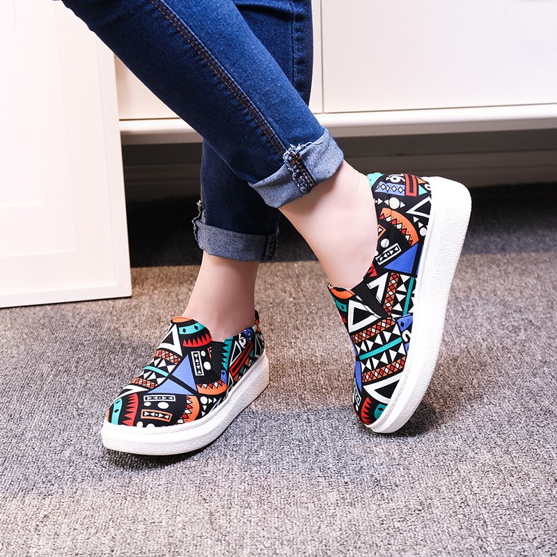 ENMAYDA Women Spring and Autumn Print Shoes Woman Flats Platform Shoes Round Toe Sweet Flats Casual Shoes Large Size 34-43