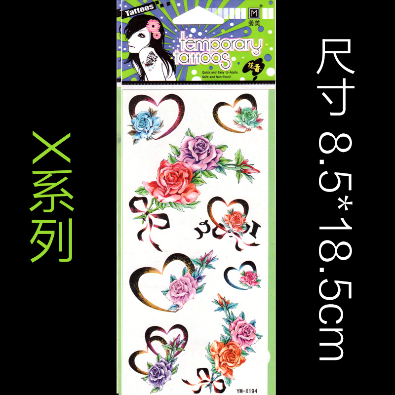 10 pcs/Lot Hot Sexy Colorful Fake Tattoos One-time Temporary Tattoos Arm Flower Rose Tattoo Waterproof Female Body Art Tattoo(China (Mainland))