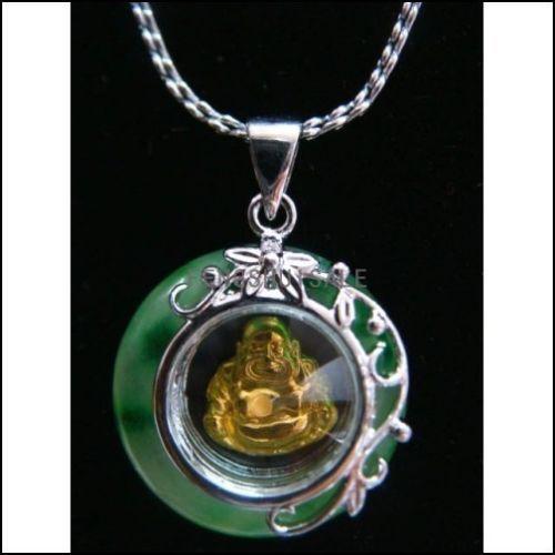 Feng Shui Jade rotatable Buddha Pendant+ Chain(China (Mainland))
