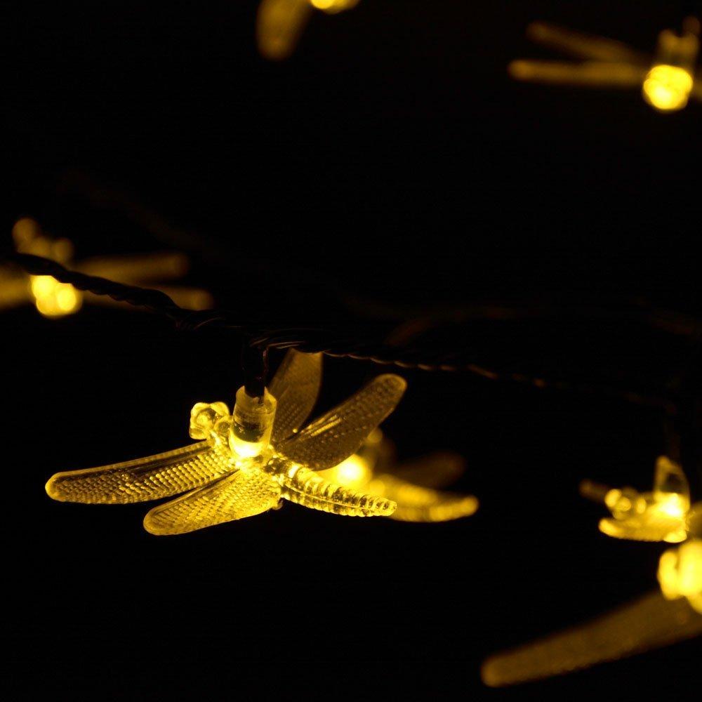 Christmas Solar String Lights 4.8m 20 LED Dragonfly Fairy Garden Light for Outdoor, Homes, Xmas ...