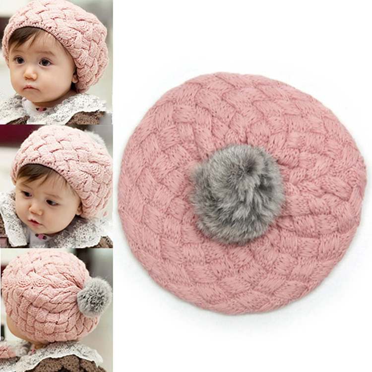 4 Color Fashion Baby Girl Toddler Kid Winter Warm Knitted Crochet Beanie Hat Cap BB-196/br(China (Mainland))