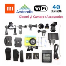 Free Shipping!!Original Xiaomi Yi Sport Camera 16MP 60FPS WIFI Ambarella Bluetooth Waterproof Connector Set+Add Accessories