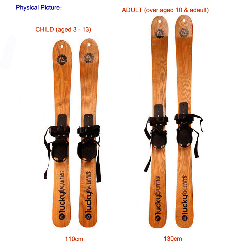 Wooden Adult Snowboard Skiing Board Kid Skis Solid Wood Skee Borads With Ski Snow Sticks9878(China (Mainland))