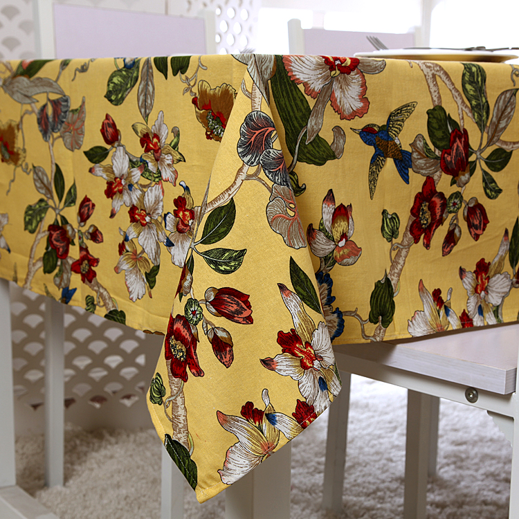 4 Colors For Choose Vintage Style Flower And Birds Linen Tablecloth Table Cloth High Quality Table Cover manteles para mesa(China (Mainland))