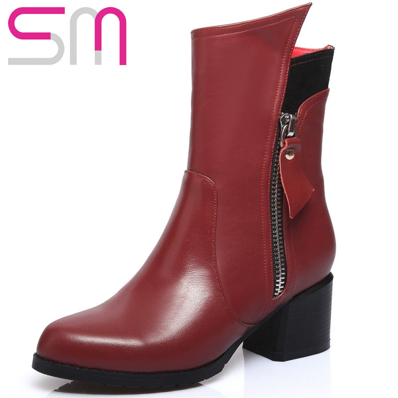Genuine Leather Microfiber Short Boots Zipper Motorcycle Boots Chunky Heel Winter Boots Spring Fall Shoes Woman Ankle Boots<br><br>Aliexpress