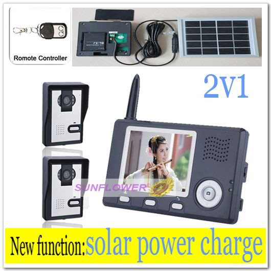 2v1 Solar power charger wireless apartment building video intercom/door phone wih record photos& remote control free shipping(China (Mainland))